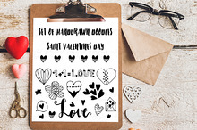 Set of doodle hearts.