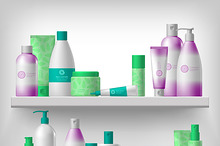Female cosmetic on shelves