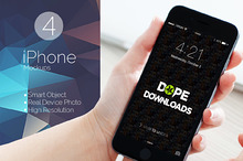 4 Desktop View iPhone Mockups