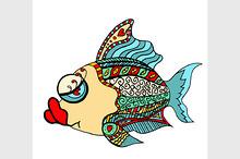 Tangle Patterns stylized Fish.