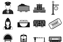 Railroad black simple icons set