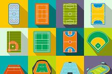 Stadium flat icons set