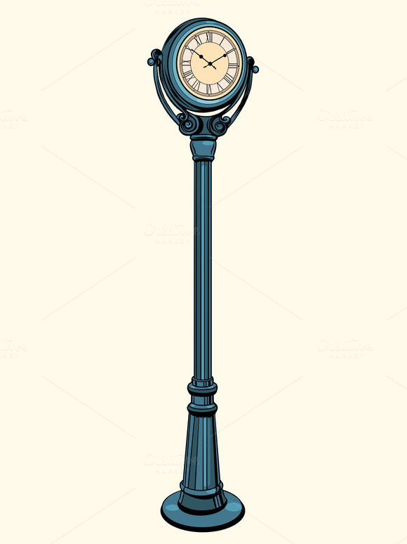 Street Clock With Arrows On The Dial