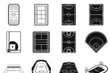 Stadium black simple icons set