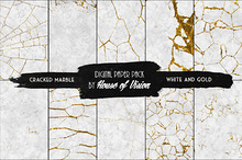 Cracked Marble White & Gold Pack 10
