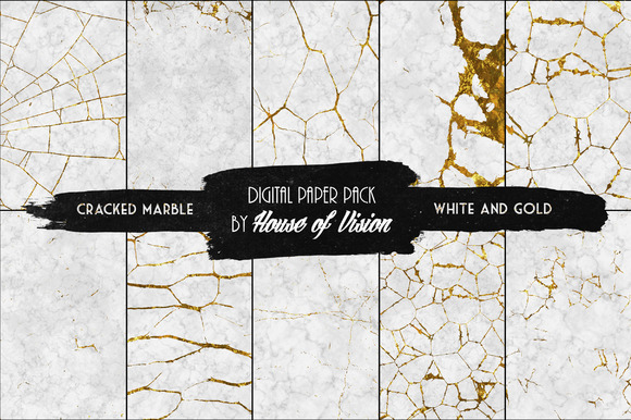 Cracked Marble White Gold Pack 10