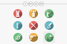 Self defense round color icons set