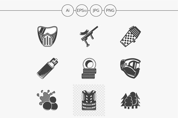 Paintball black design icons. Set 1 - Icons