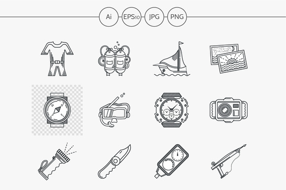 Diving flat line vector icon. Part 3 - Icons