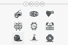 Diving black design vector icons