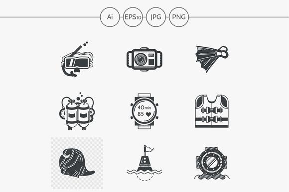 Diving black design icons. Set 1 - Icons