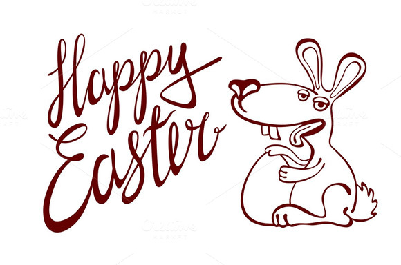 Happy easter lettering. bunny - Graphics