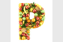 Letter of fruits 3d