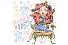 Vector fashionable girl princess