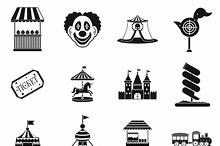 Amusement park icons set