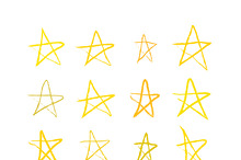 Set of golden hand-drawn stars