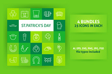 Saint Patrick's Day Line Art Icons