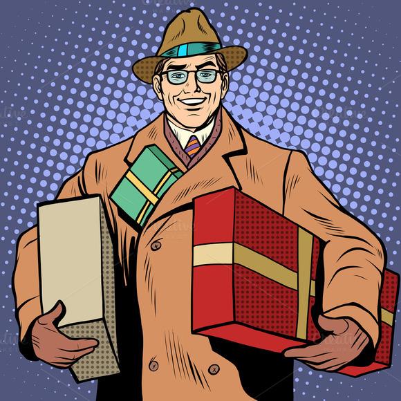 Joyful Man With Gifts Holiday