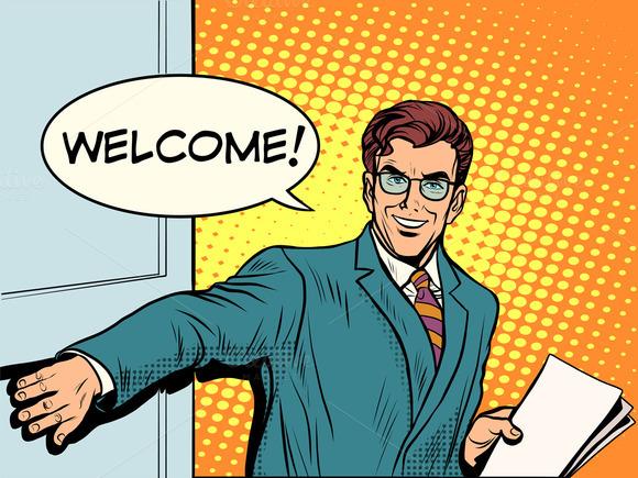 Welcome Businessman Opens The Door