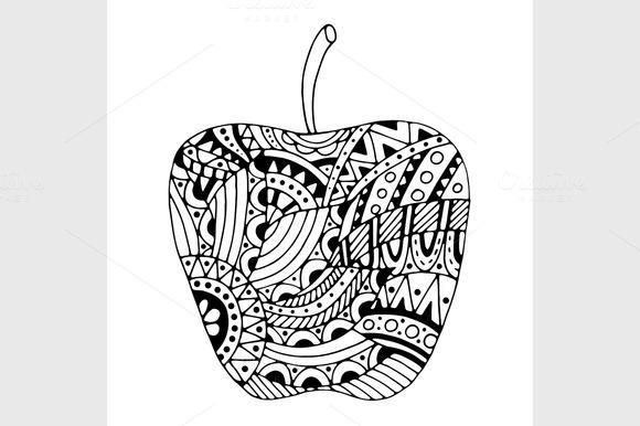 Tangle Patterns Stylized Apple
