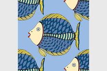 Seamless Tangle Patterns fish