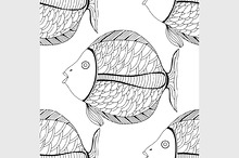 Seamless fish background.