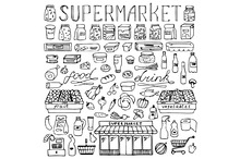 Supermarket Set + 2 Seamless Pattern