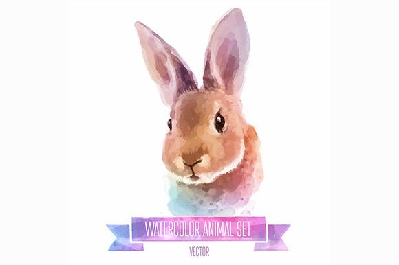 Watercolor Set Of Animals Rabbit