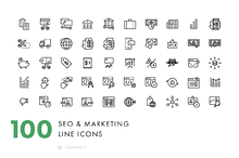 100 Line SEO & Business Icons