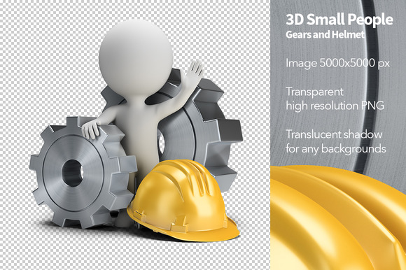 3D Small People Gears And Helmet