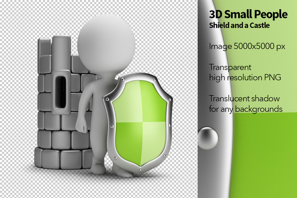 3D Small People Shield
