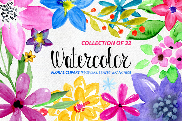 32 Watercolor Floral Elements