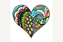 hearts in Tangle Patterns style