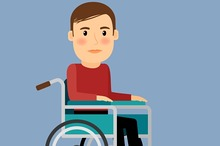 Disabled man in wheel chair