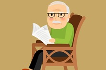 Old man sitting in rocking chair
