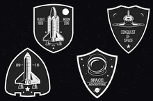 Set of vintage space logo, poster ..