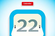 Calendar App Icon Flat Style Design