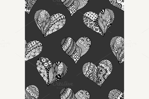 Pattern Of Monochrome Hearts