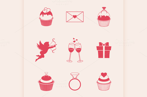 St. Valentines Day icons - Illustrations