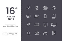 Devices Icons - Line and Solid
