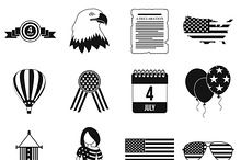 Independence day black simple icons