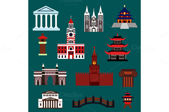 Famous World Landmarks Flat Icons