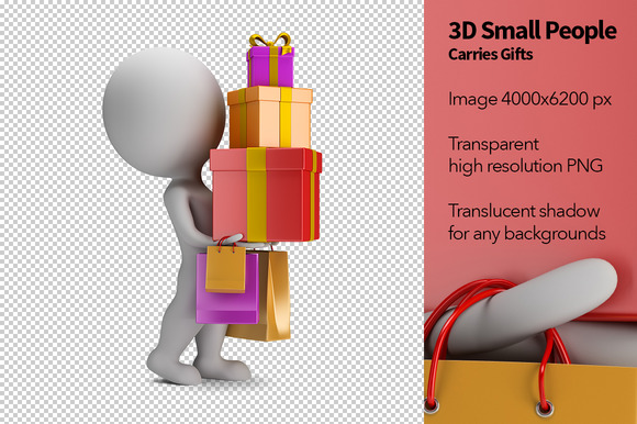 3D Small People Carries Gifts