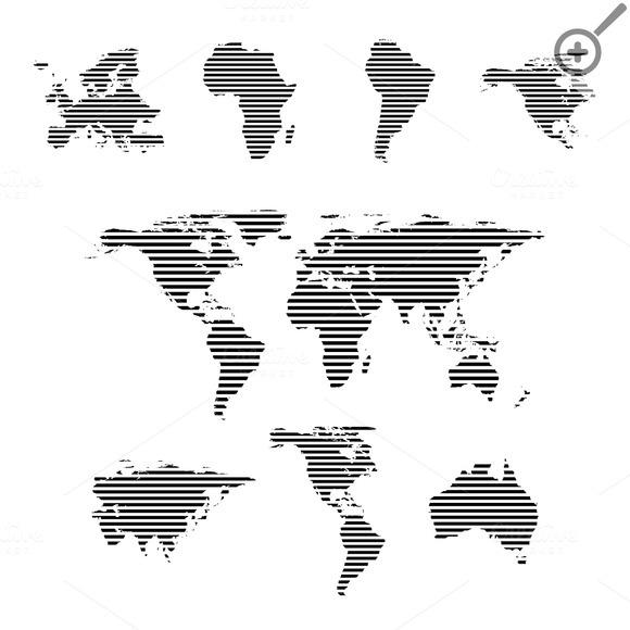 World Maps On White