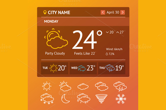 Weather Widgets Vector