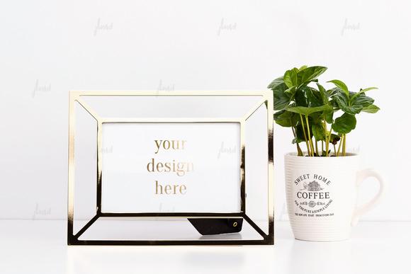 Golden Frame With Coffee Mug