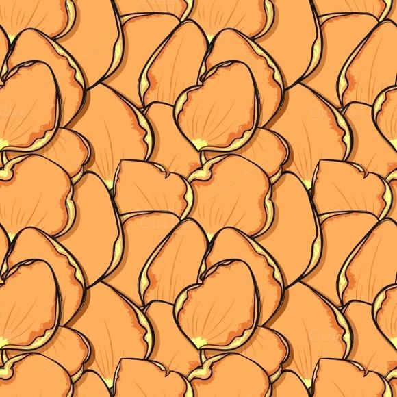 Seamless Pattern Rose Petals Sketch
