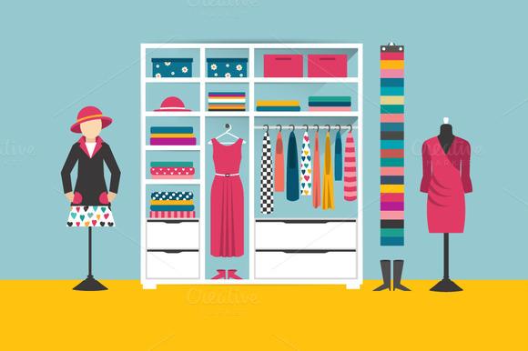 Clothing store. Flat illustration. - Illustrations