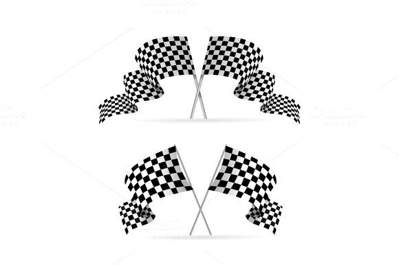Racing Flag Avto Set. Vector - Objects
