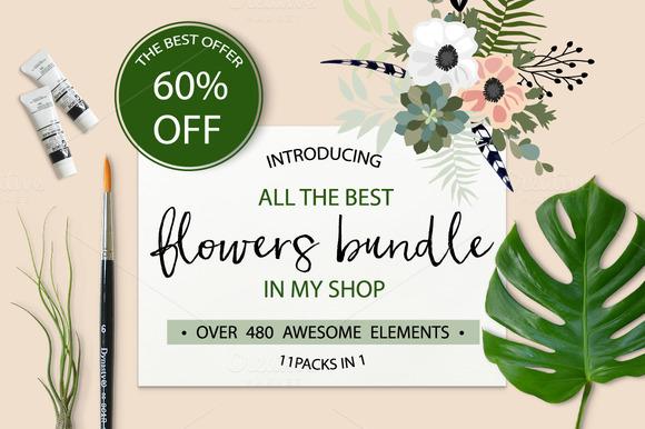 60%OFF Flowers Bundle 480 Elements